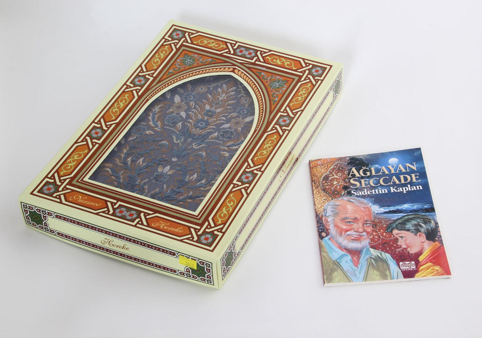 Gebetsteppich  Hereke Seide Blau mit Buch  Orient Shop